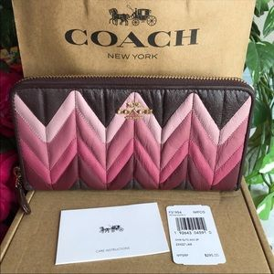 COACH Ombre Quilted Leather Accordion Zip Wallet